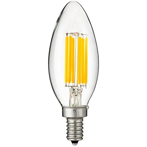 Sunlite 80445-SU LED Filament Style Torpedo Tip Chandelier Light Bulb 6W (60W Equivalent) Candelabra E12 Base, 630 Lumens, 27K - Warm -