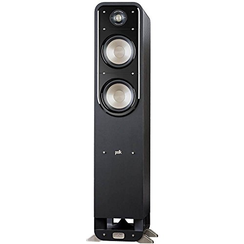 Polk Signature Series S55 Floor Standing Speaker - American HiFi Surround Sound for TV, Music, and Movies | Stylish Looks, Big Sound | Bi-wire and Bi-amp | Detachable Magnetic Grille Included