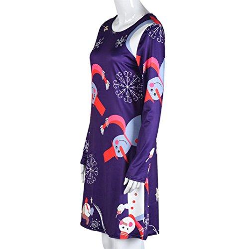 ESAILQ 9 Stil Frauen Xmas Print Swing Kleid Damen Weihnachten ...