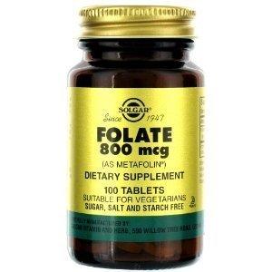 Solgar - folate (Metafolin) 800 mcg, 100 comprimés