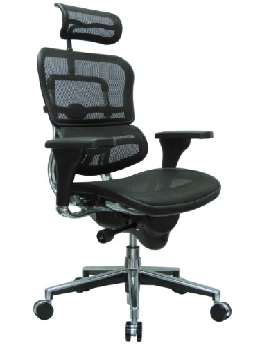 Ergohuman High Back Swivel Chair with Headrest, Black Mesh & Chrome Base images