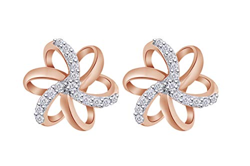 Aria Jewels Diamond Accent Spiral Flower Stud Earrings in 14K Rose Gold Over Sterling Silver For Women (1/10 cttw)
