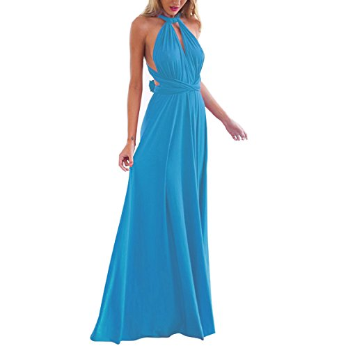 Women's Transformer Convertible Multi Way Wrap Long Prom Maxi Dress V-Neck Hight Low Wedding Bridesmaid Evening Party Grecian Dresses Boho Backless Halter Formal Cocktail Dance Gown Blue Large