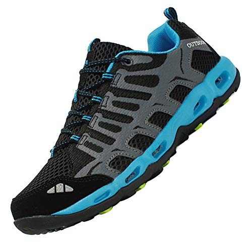 Dabbqis Hiking Shoes for Men Trail Running Sneakers Lightweight Athletic Trekking Boots Breathable Water Shoes (10, Improved Black) ()