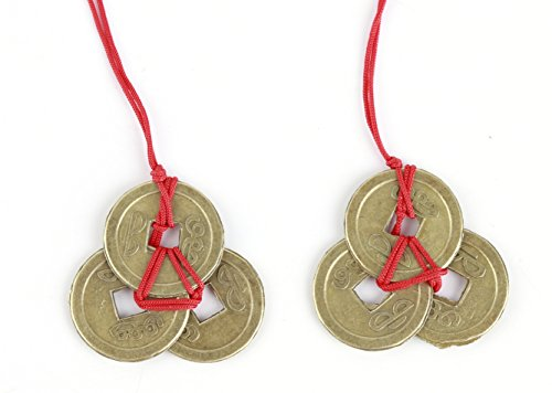 INKWASH Handmade Authentic Chinese Lucky Feng Shui Products Feng Shui Coins for Wealth Good Fortune and Success 2 Sets of 3 Coins Home Decor