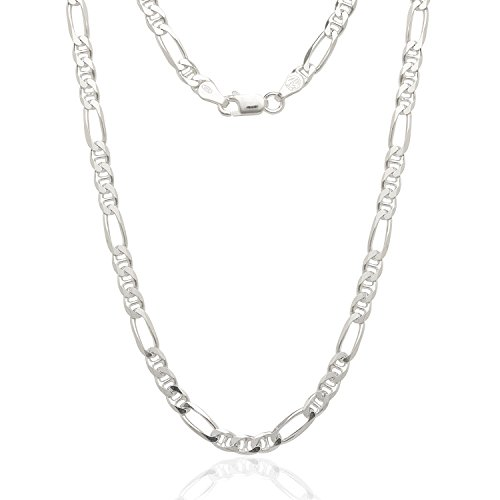 Sterling Silver Italian 4.5mm Figarucci Figaro Mariner Anchor Link ITProLux Solid 925 Flat Necklace Chain 16