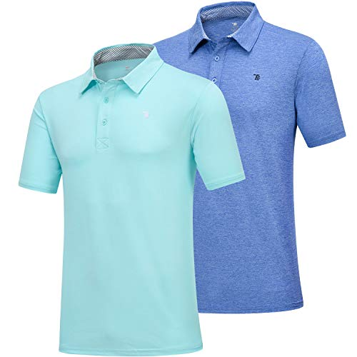 (MoFiz Men's Short Sleeve Polo Shirt Dri-Fit Performance Golf Polo T Shirt 2 Pack (L,Blue/Green))