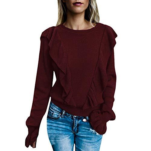 s Fashion O-Neck Pure Color Pagoda Sleeve Ear Edge Blouse Loose Shirt Tops ()