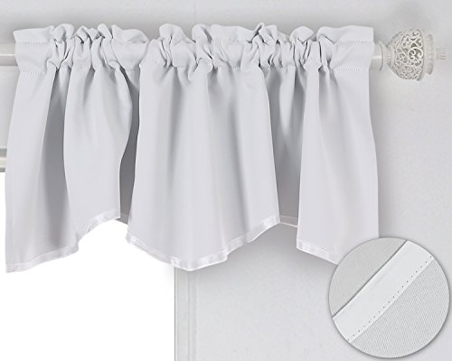 White Scalloped (Deconovo Rod Pocket Blackout Curtain Short Curtain Scalloped Valance for Bedroom 42x18 Inch Star White 1 Drape)