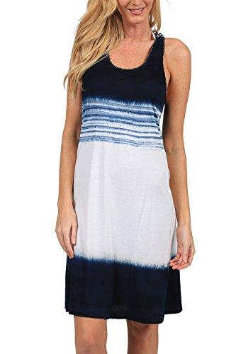 - INGEAR Tie Dye Racerback Tank Dress Beach Summer Fashion Casual Print Cover Up (Large/XLarge, Navy/White)