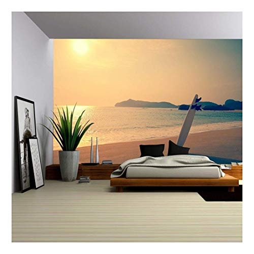 wall26 - Old Photo of Surfboard on The Wild Beach of Hawaii, US - Removable Wall Mural | Self-Adhesive Large Wallpaper - 66x96 inches