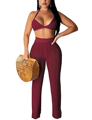 Rela Bota Women Two Piece Outfits Clubwear Hollow Out Bra Top Bikini and Long Pants Beach Cover Up Wine L