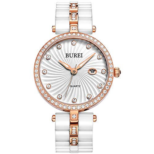BUREI Women's Elegant Analog Quartz Wrist Watches Diamond Bezel with Ceramic Bracelet (Rose Gold)