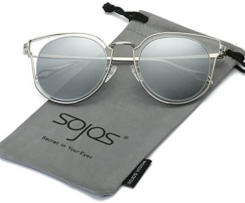 SojoS Polarized Sunglasses Oversize Metal Frame UV Reflective Lens Unisex SJ1057