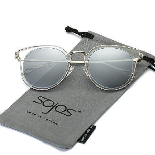 SojoS Fashion Polarized Sunglasses UV Mirrored Lens Oversize Metal Frame SJ1057 With Silver Frame/Crystal&Silver Mirrored - Frame Crystal Sunglasses