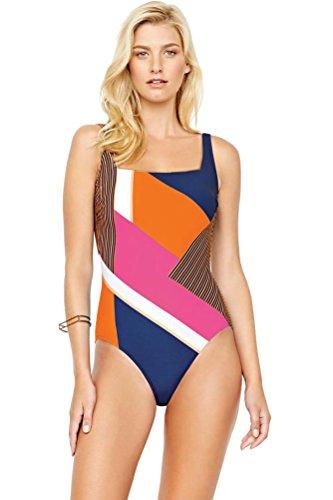 Gottex-Maritime-Orange-Square-Neck-One-Piece-Swimsuit-Size-12