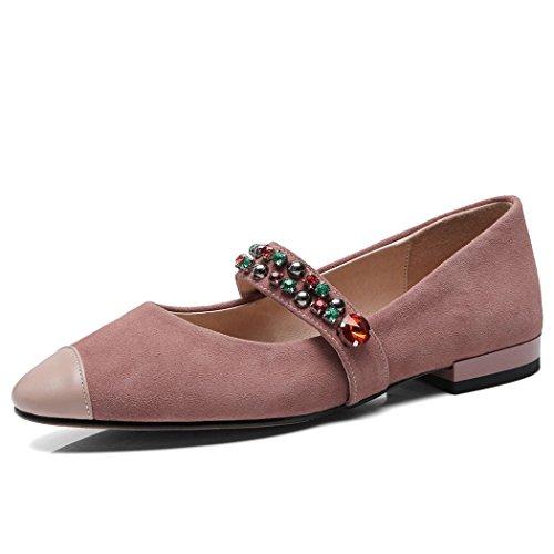 GAOLIXIA Zapatos Planos de Las Mujeres Zapatos Color Plano Rhinestone Moda Correa de Tobillo Zapatos Casuales Zapatos de la Corte Bombas Rosado
