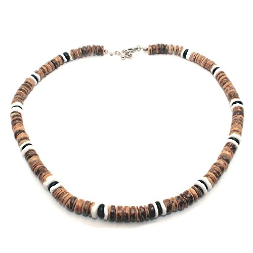 Tiger Brown Coco Bead Hawaiian Surfer Necklace with White Puka Shell and Black Coco Bead Accents, Lobster Lock (16 IN)