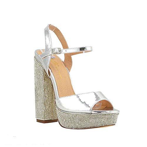 Embellished Platform - Olivia and James Women's Open Toe Ankle Strap Embellished Rhinestone Covered Platform Chunky Block Heel Sandal Shoes (9, Silver)