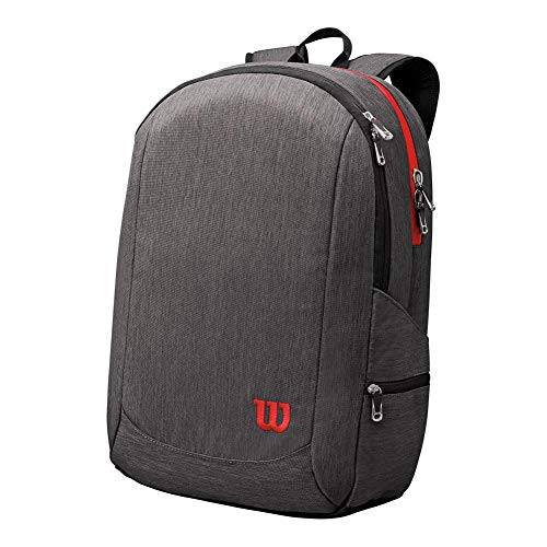 (Wilson Traveler Backpack Tennis Bag, Grey/Red)