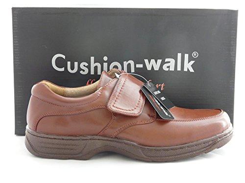 De Cuir Marche 6 Ou Confort De D'affaires 11 Coussin Dimensionner Chaussures Marron Travail Hommes Velcro Tactile Lacets Fixation Formel Raccord Emmancher Léger Doublé Large XnYqAU