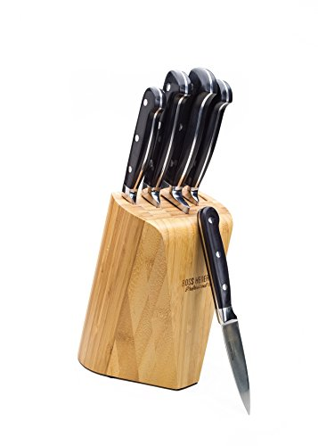 onal 5 Piece Premium High Carbon Stainless Steel Knife Set In Solid Bamboo Block (Carbon Stainless Steel Knife Set)