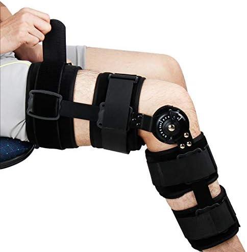 REAQER Knieorthese Verstellbare ROM Knieschiene Kniebandage mit Scharnier Bein Stabilisierung Passt Beiden Beinen Unisex