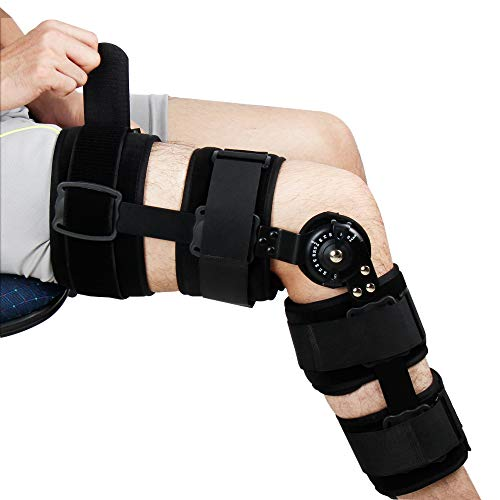 REAQER Hinged Knee ROM Brace Patella Brace Orthosis Knee Orthoses Adjustable Knee Support Leg Support Suitable for Knee Injury Recovery,Postoperative Rehabilitation of Arthritis or Fracture ()