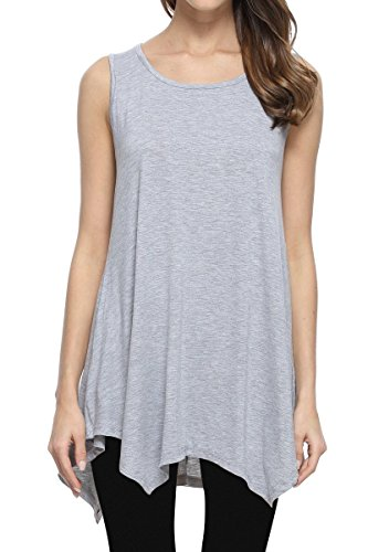 JollieLovin Womens Plus Size Loose-fit Sleeveless T-Shirt Tank Tunic Top (Heather Gray, -