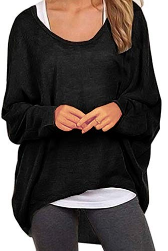 - UGET Women's Sweater Casual Oversized Baggy Off-Shoulder Shirts Batwing Sleeve Pullover Shirts Tops Asia XL Black