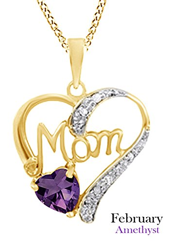 Mothers Day Jewelry Gifts Simulated Amethyst & White Diamond Accent MOM Heart Pendant Pendant Necklace in 925 Yellow Gold Over Sterling Silver ()