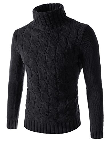 Showblanc (SBTN01) Man Easy Fit Chunky Cable Textured Knit Turtleneck Sweater