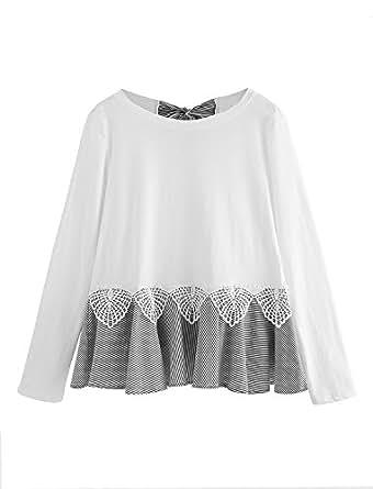 Floerns Women' Short Sleeve Summer T Shirt Peplum Top Black XS