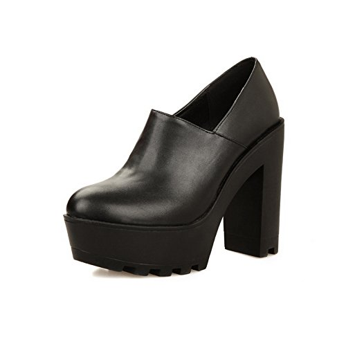 AdeeSu Womens Chunky Heels Fabric Platform Round-Toe Casual Retro Urethane Pumps Shoes SDC03615 Black