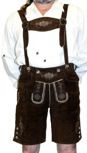 2-Piece Leather German Oktoberfest Lederhosen Shorts 32 Brown by Dirndl Trachten Haus