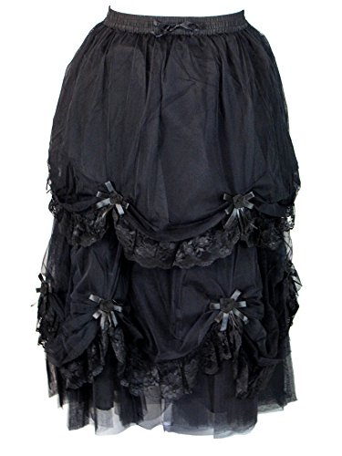 Dark Star Plus Size Long Black Satin Roses Gothic Medieval Fairytale Skirt L-2X (FITS L-2X) by Darkstar