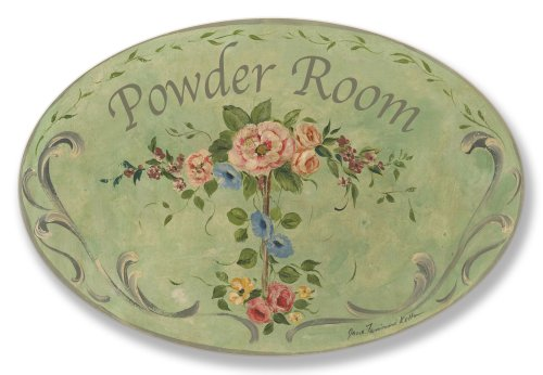 Le Bain Plaque - Stupell Home Green with Flowers Powder Room Oval Bath Plaque