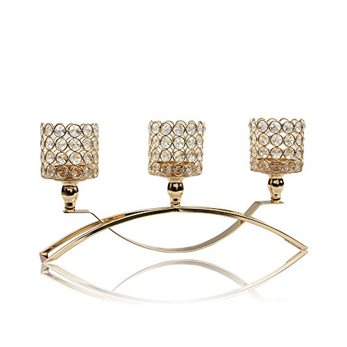 VINCIGANT 3 Arms Gold Crystal Candelabra for Wedding/Fathers