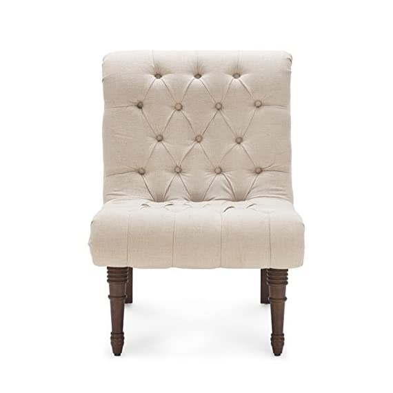 Belleze Beige Accent Chair Living Room Casual Backrest Lounge Low Rolled Back Seat Cushion w/Wood Legs - Perfect alone or in a pair, this chair will last for years as it retains its beauty and elegance. Low-slung wing chair will work well in either modern or a traditional environment due to the tufted accent style chair Upholstered in a plush and luxurious fabric, these gorgeous chairs feature solid wooden frames that are just as sturdy as they are stylish. - living-room-furniture, living-room, accent-chairs - 41WgMGpbCOL. SS570  -