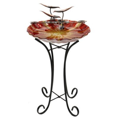 Beckett Corporation Sunset Birdbath with Pump, Orange by Beckett Corporation