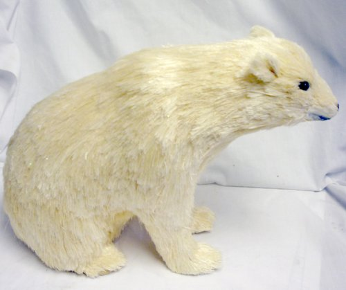 Christmas Tablescape Decor - Small white sisal sitting Christmas polar bear by Trade Routes NW