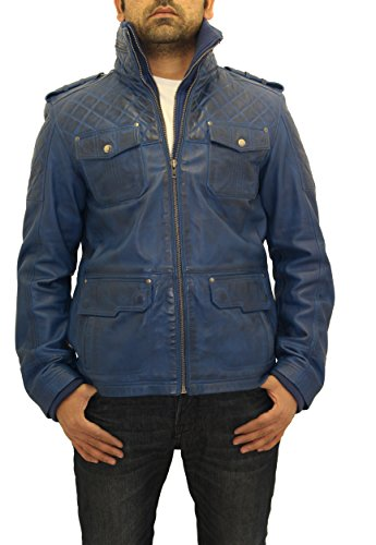 Safari l chaqueta en cuero gant azul genuino Hombres abrigo largo Matelass de de XqU7Fwf