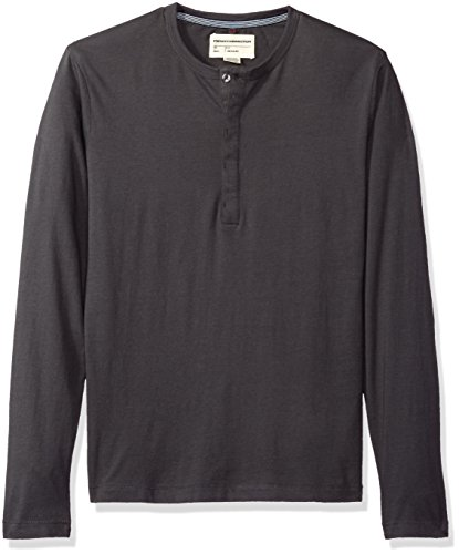 (French Connection Men's 3 Button Solid Color Cotton Henley Shirt, Charcoal,)