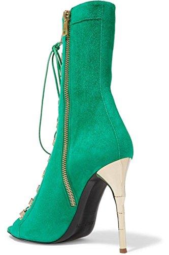 Chaussures Sandales Poisson Printemps fraîches Daim Haut NVXIE de Bouche Femmes Été Club GREEN Soirée Bottes Mariage Talon EUR41UK758 4P5vEExYqw