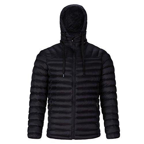 HHY-Pure color down cotton jacket, warm big code rib coat, men's cotton padded coat,black,3XL