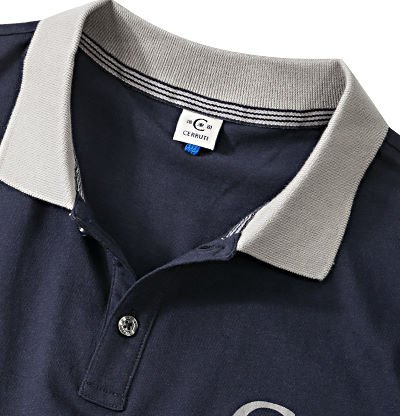 18CRR81 CERRUTI Herren Polo-Shirt Baumwolle T-Shirt Unifarben, Größe: L, Farbe: Blau