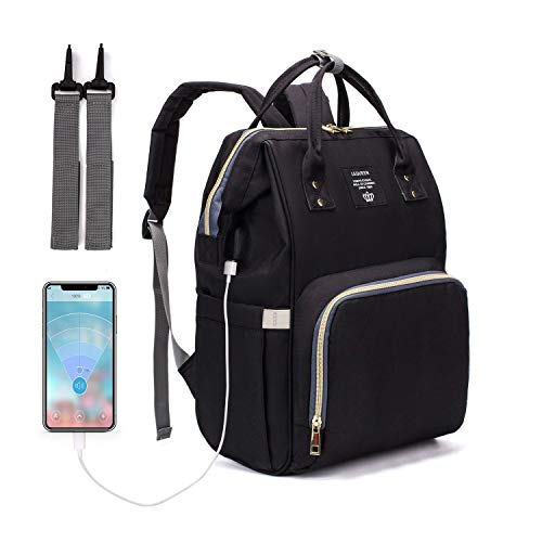 Diaper Bag Backpack, LEQUEEN Waterproof Stylish Multifunction Large Capacity Travel Back Pack Maternity Baby Nappy Changing Bags with USB Charging Port (Black)