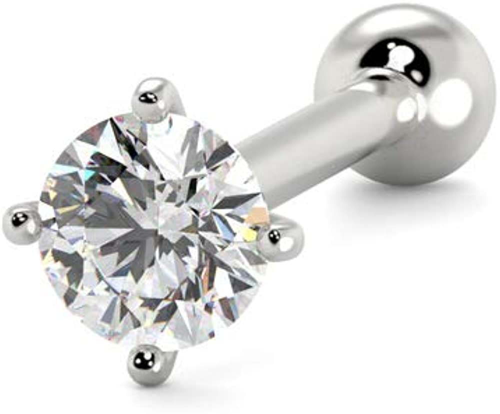 14K Solid GOLD Bezel Set FLAT Clear GEM NOSE Bone RINGS STUD Piercing Jewelry