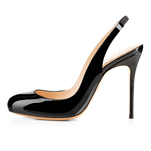 Women New Hot Fashion Multicolor Fashion Sexy Slingback Round Stiletto High Heel Shoes Black