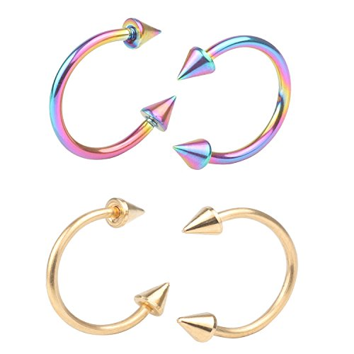 16G Surgical Stainless Multi-functional Lip\Nose\Nipple\Eyebrown Captive Hoop Ring Barbell Tragus Cartilage Stud Earrings 3mm Spike 6mm